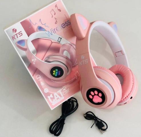 Imagem de Fone De Ouvido Bluetooth Led Orelha Gato Iuz Headphone