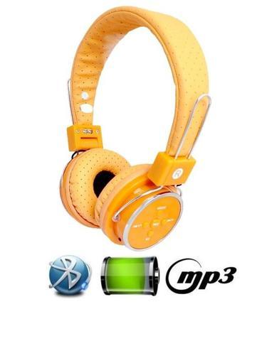 Imagem de Fone De Ouvido Bluetooth Micro Sd Mp3 Rádio Fm Player - Laranja