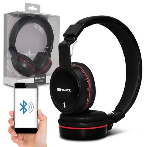 Imagem de Fone de Ouvido  Bluetooth Shutt Basic Sem Fio Entrada P2 SD Rádio FM MP3 Preto Com Vermelho