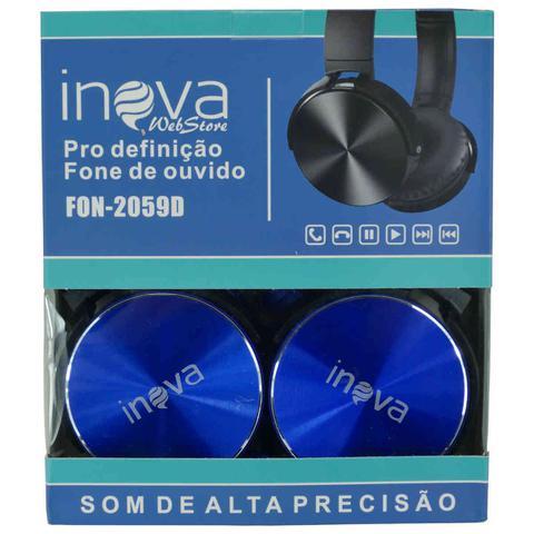 Imagem de Fone de ouvido com microfone com fio para celular, notebook e tablet - Azul Metálico