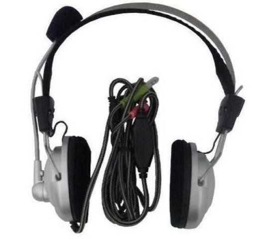 Imagem de Fone de ouvido com microfone dupla entrada P2 para notebook PC computador adaptadores P3 / P2 e USB