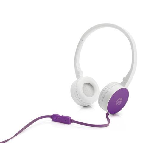 Fone de Ouvido Headphone Branco Roxo H2800 Hp F6j06aa