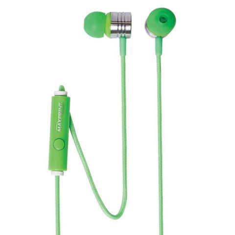 Fone de Ouvido Intra-auricular Com Microfone Neon Verde Maxprint 6012240