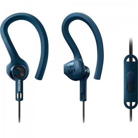 Fone de Ouvido Earphone Com Controle Esportivo 3 em 1 Azul Philips Shq1405bl