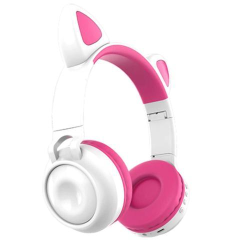 Imagem de Fone de Ouvido Gatinha Bluetooth Led 8 Cor Headphone Branco