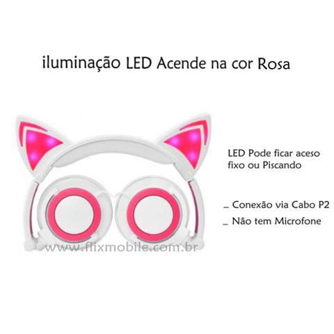 Imagem de Fone De Ouvido Gatinho Com Led Headphone Orelha De Gato - Branco com Rosa