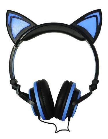 Imagem de Fone De Ouvido Gatinho Com Led Headphone Orelha De Gato Preto e Azul
