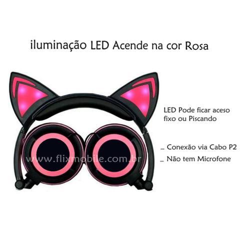 Imagem de Fone De Ouvido Gatinho Com Led Headphone Orelha De Gato Preto e Rosa