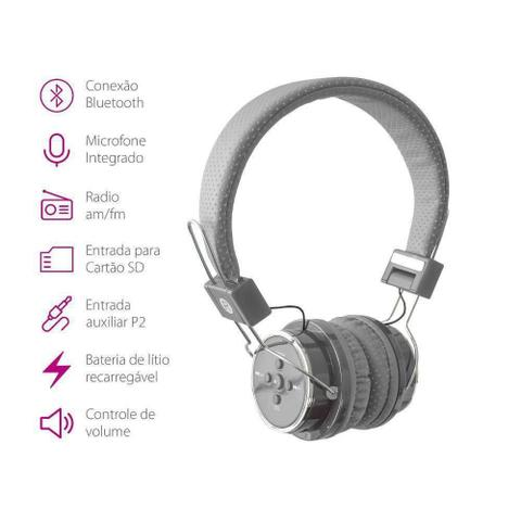 Fone de Ouvido Headphone Bluetooth Cinza Boas Lc666