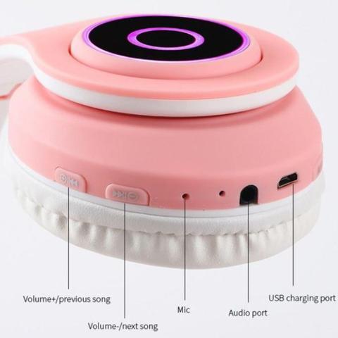 Imagem de Fone de Ouvido Headphone Gato Gatinha Luzes Led Bluetooth