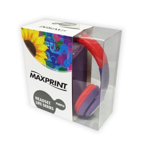 Fone de Ouvido Headphone Life Series Roxo e Vermelho Maxprint 6012125