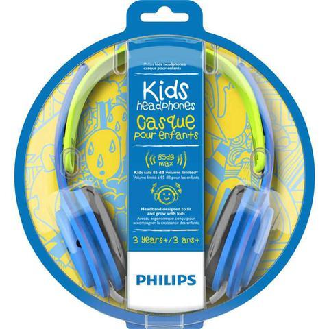 Imagem de Fone de Ouvido Infantil Philips SHK2000 Azul com Limitador de Volume 85dB para Criança SHK2000BL/00