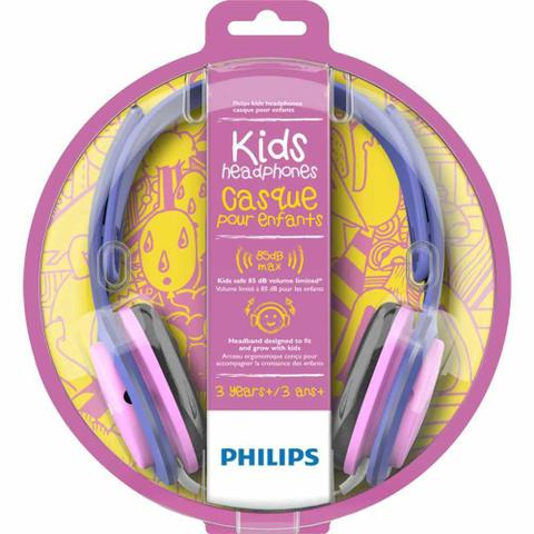Imagem de Fone de Ouvido Infantil Philips SHK2000 Rosa Roxo Limitador de Volume 85dB para Criança SHK2000PK/00