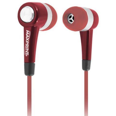 Fone de Ouvido Intra-auricular Com Microfone Vermelho Maxprint 6011540