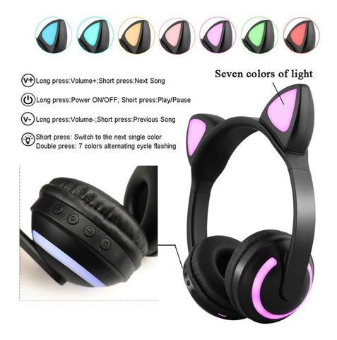 Imagem de Fone De Ouvido Orelhas Gato Led 7 Cores Luz Headphone Azul