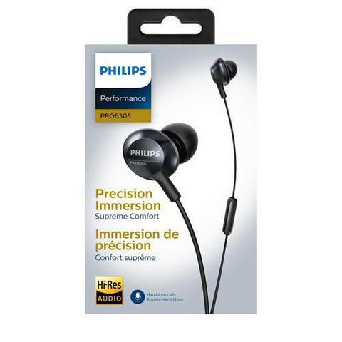 Imagem de Fone de Ouvido Philips Performance de Alta Definição Intra-Auricular Preto - PRO6305BK/00