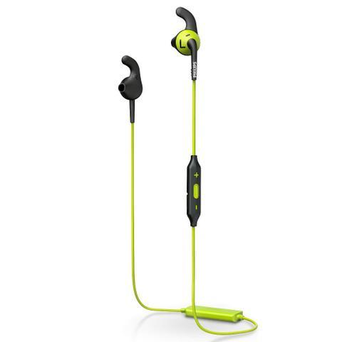 Fone de Ouvido Intra-auricular Bluetooth Actionfit Esportivo Preto e Verde Philips Shq6500cl