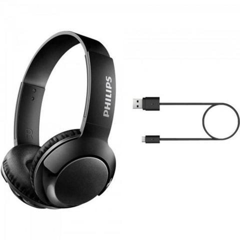 Fone de Ouvido Headphone Sem Fio Bass+ Preto Philips Shb3075bk/00