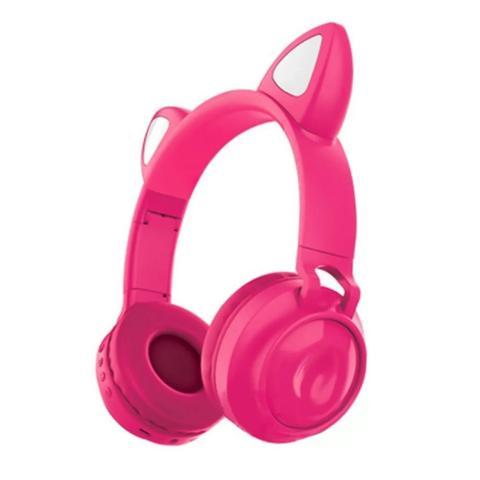 Imagem de Fone de Ouvido Sem Fio Orelhas de Gato 8 Cores de LED Headset Gatinho Bluetooth Pink