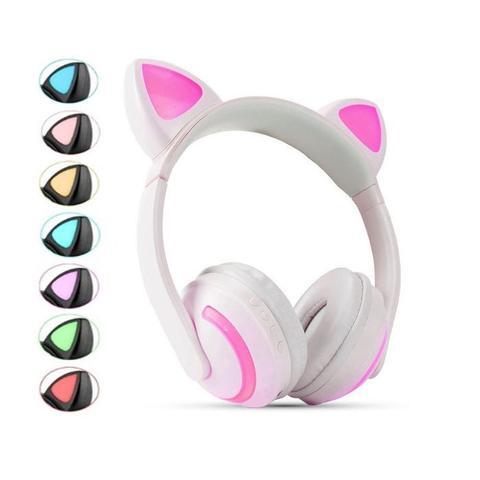 Imagem de Fone de Ouvido Sem Fio Orelhas de Gato com 7 Cores de LED Headset de Gatinho Bluetooth Branco