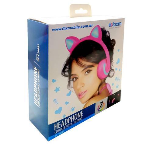 Imagem de Fone de Ouvido Sem Fio Orelhas de Gato com 7 Cores de LED Headset de Gatinho Bluetooth