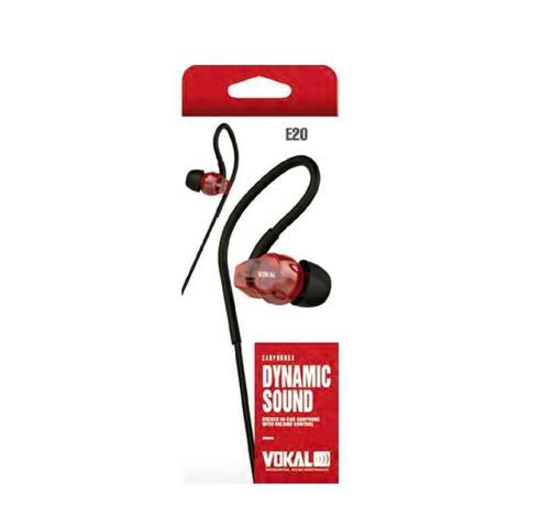 Imagem de Fone de Ouvido Vokal In Ear E20 Red com Plug Stereo Controle de Volume e Compatível com Smartphones