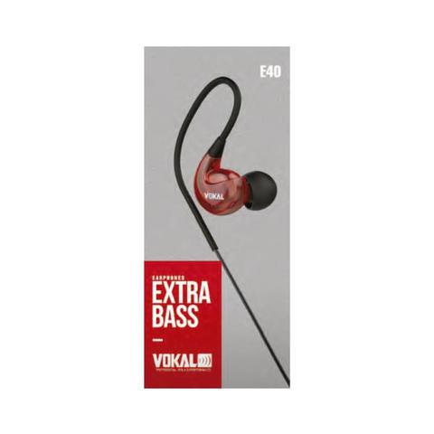 Imagem de Fone de Ouvido Vokal In Ear E40 Red Extra Bass Plug Stereo com Ganho de Graves e Volume