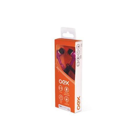 Fone de Ouvido Intra-auricular Com Controle e Microfone Zíper Rosa Oex Fn400
