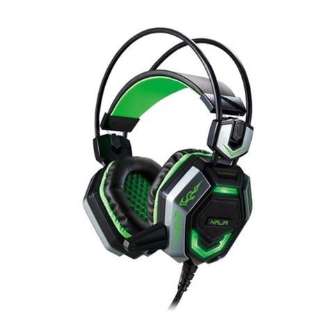 Fone de Ouvido Headset Gamer Aries Naja 7.1 Preto e Verde Braview Hs-bcc