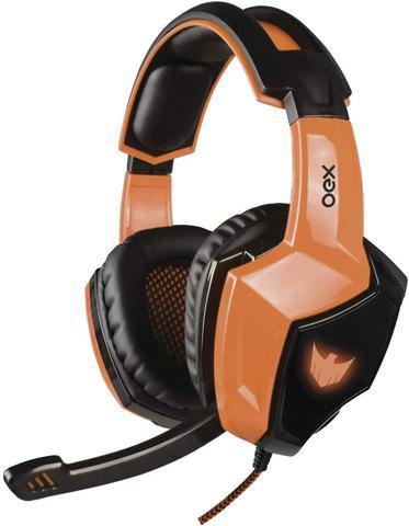 Fone de Ouvido Headset Eagle Led 7.1 Laranja Oex Hs401