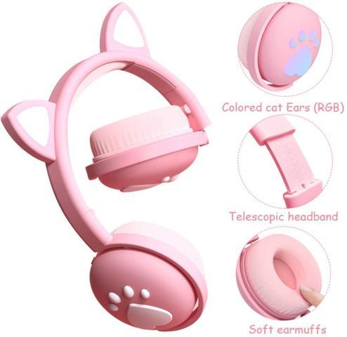 Imagem de Fone Orelha De Gato Headphone Gatinho Com Led Fone Bluetooth