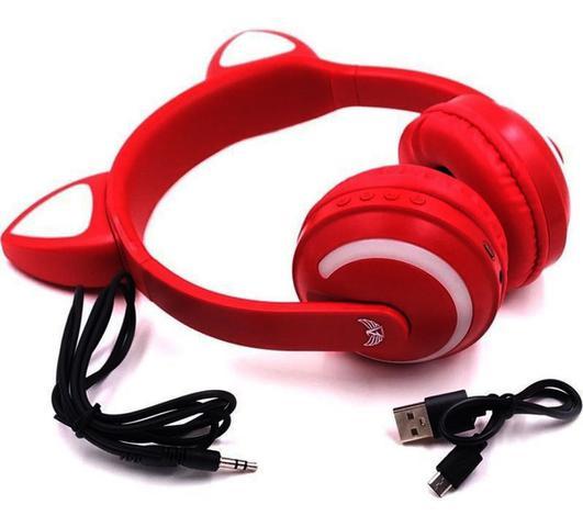 Imagem de Fone Orelha gatinho Bluetooth Led 7 Cores
