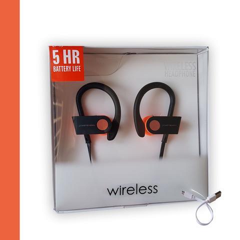 Imagem de Fone Ouvido Bluetooth Microfone Esporte Corrida Preto com Laranja