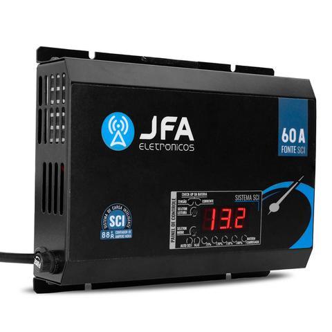 Imagem de Fonte Automotiva JFA 60A Amperes Slim 3000W Carregador Bateria Bivolt Display Voltímetro Amperímetro