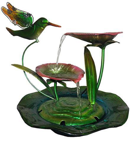 Imagem de Fonte de Agua Cascata Decorativa Grande de Metal Flores Beija Flor para Jardim Casa (ft-l)