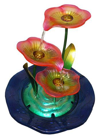 Imagem de Fonte de Agua Cascata Decorativa Grande Metal Flores para Jardim e Casa (FT-M)