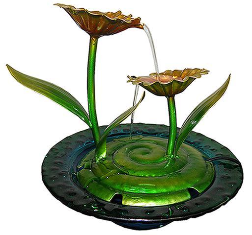 Imagem de Fonte De Agua De Metal Cascata Decorativa Flores Amarelas para Jardim Casa (FT-R )