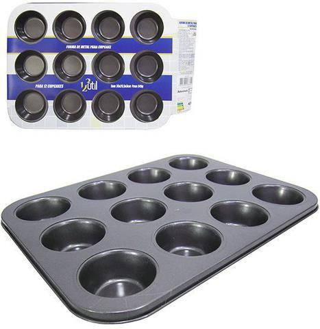 Imagem de Forma Assadeira de Metal para Cupcakes com 12 Cavidades 35x26,5 cm