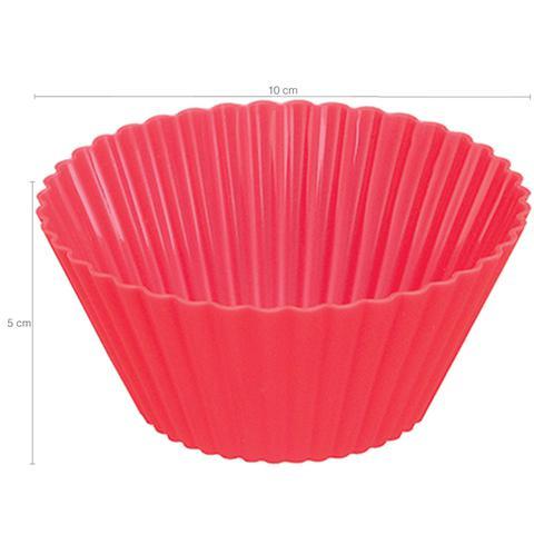 Imagem de Forma de Silicone Bolo Cupcake Pudim Petit Gateau 2 Unidades Vermelho