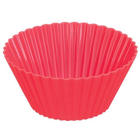 Imagem de Forma de Silicone Forno Bolo Cupcake Pudim Doces 4 Unidades Vermelho