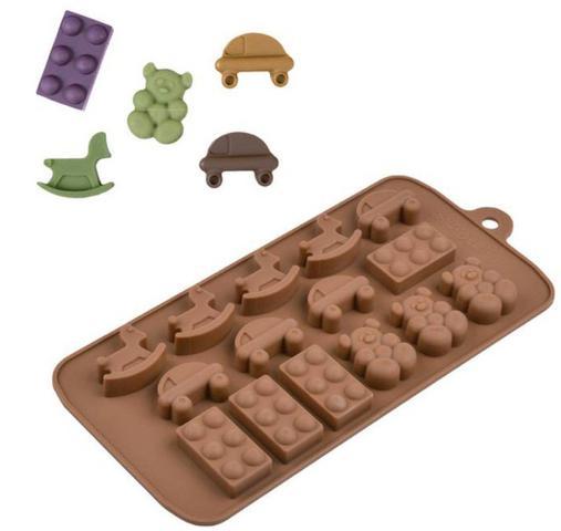 Imagem de Forma de Silicone para Chocolate Lego Urso Cavalo e Carro Confeitaria Silver Chef