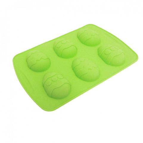 Imagem de Forma de Silicone para Ovo de Pascoa com 6 Cavidades Pequenas Verde  mandiali
