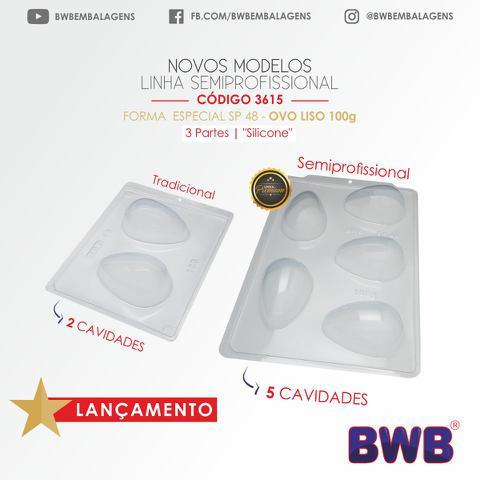 Imagem de Forma Ovo De Páscoa 100g Bwb Premium 5 Cavidades Bwb Sp48