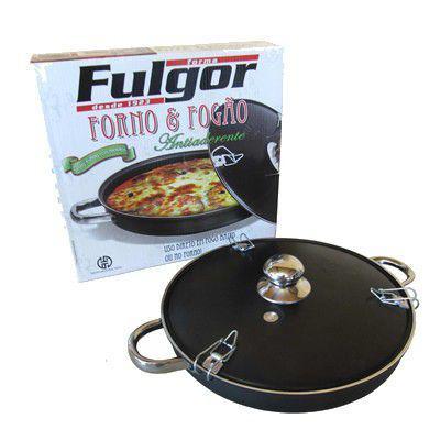 Imagem de Forma Para Pizza Alumínio Teflon Alças de Inox - Fulgor