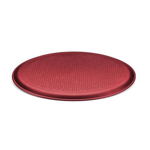 Imagem de Forma Pizza Crocante Assadeira Com Furo Vermelho Cereja 30cm