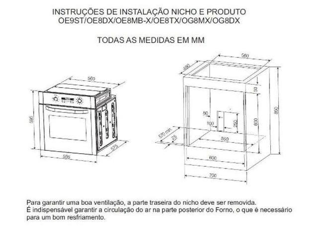 Imagem de Forno a Gás de Embutir Electrolux 73L OG8DX 220V