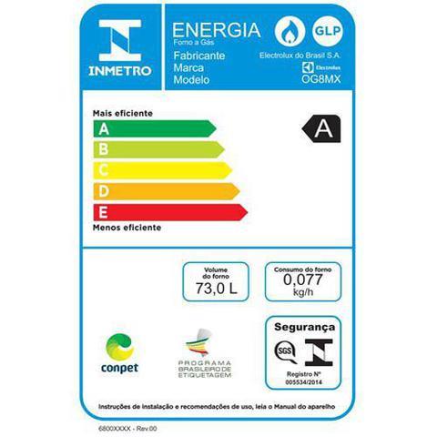 Imagem de Forno a Gás de Embutir Electrolux com 73 Litros de Capacidade, Grill e Painel Mecânico Inox - OG8MX