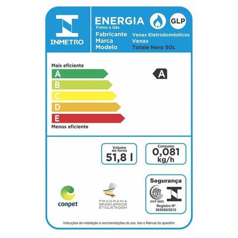 Imagem de Forno de embutir a Gas 50L Totale Nero GII Gas Glp