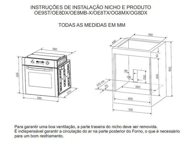 Imagem de Forno de Embutir a Gás 73L Inox com Grill (OG8MX)