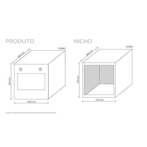 Imagem de Forno de embutir a gás Consul 78 litros Prata com grill e timer sonoro